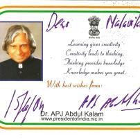 Honored by Dr. APj Abdul Kalam